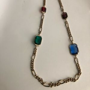 Long multi stone chain necklace